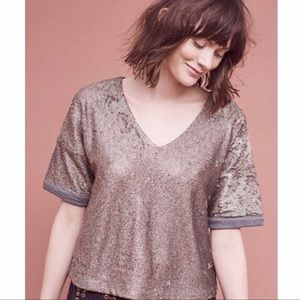 New Deletta V Neck Boxy Sequin Top Brown Shirt XS